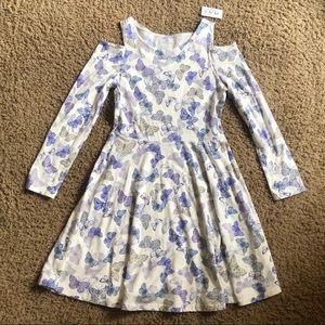 Girls long sleeve butterfly skater dress